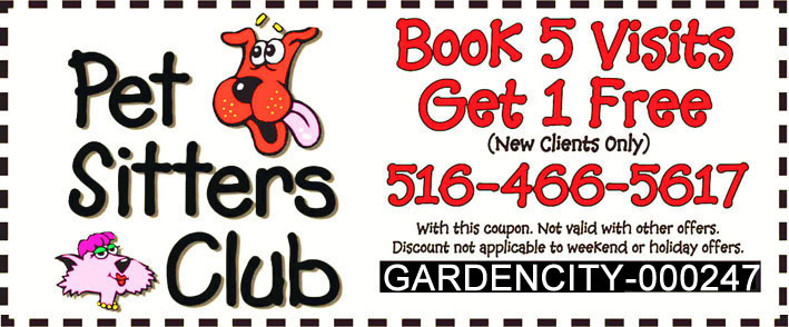 Pet Sitters Club Exclusive Offer for Glen Cove Visitors - Book 5 Visits Get 1 Free - Limited Time Offer!