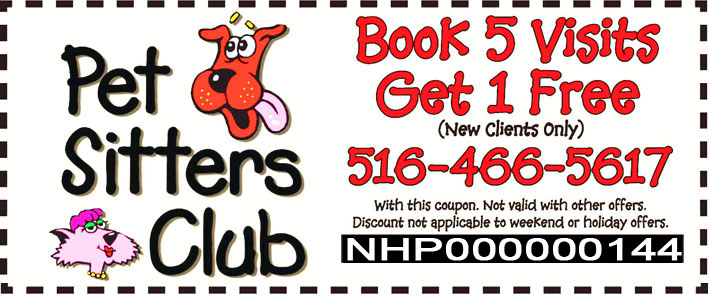 Pet Sitters Club Exclusive Offer for our Jericho Visitors - Book 5 Visits Get 1 Free - Limited Time Offer!